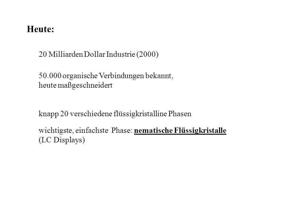 Heute: 20 Milliarden Dollar Industrie (2000) 50.000 organische Verbindungen bekannt, heute maßgeschneidert knapp 20 verschiedene flüssigkristalline Ph