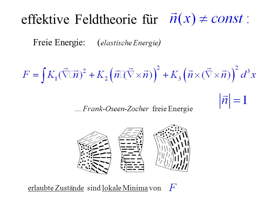 effektive Feldtheorie für Freie Energie: ( elastische Energie )... Frank-Oseen-Zocher freie Energie erlaubte Zustände sind lokale Minima von