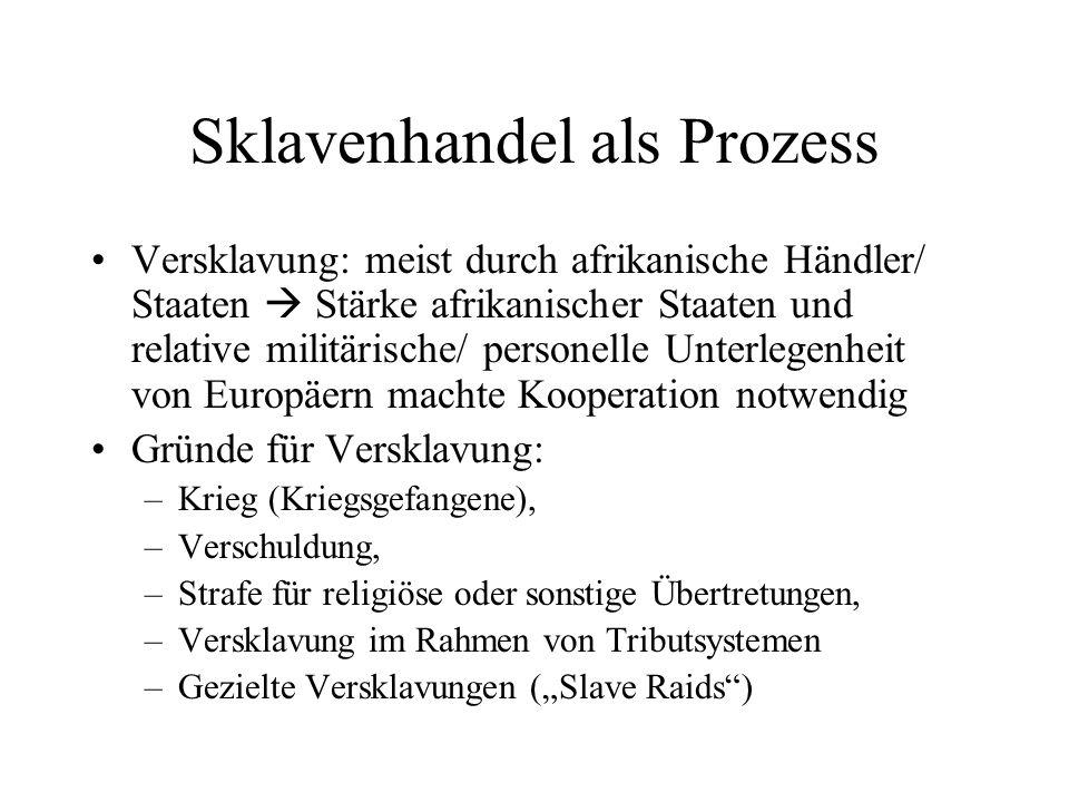 Sklavenhandel als Prozess Versklavung: meist durch afrikanische Händler/ Staaten Stärke afrikanischer Staaten und relative militärische/ personelle Un
