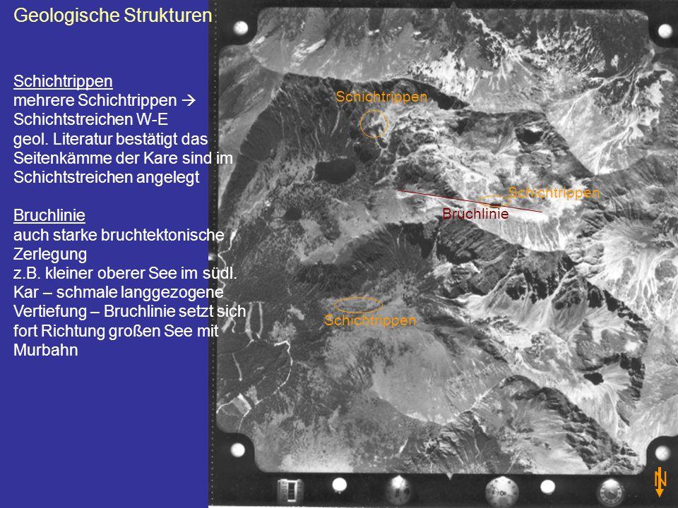 Geologische Strukturen Schichtrippen mehrere Schichtrippen Schichtstreichen W-E geol. Literatur bestätigt das Seitenkämme der Kare sind im Schichtstre