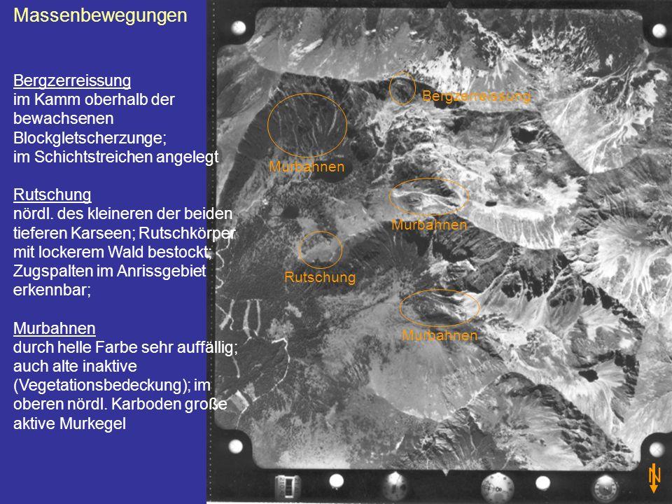 Massenbewegungen Bergzerreissung im Kamm oberhalb der bewachsenen Blockgletscherzunge; im Schichtstreichen angelegt Rutschung nördl. des kleineren der