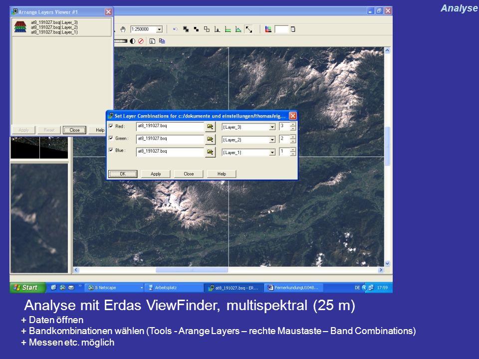 Analyse mit Erdas ViewFinder, multispektral (25 m) + Daten öffnen + Bandkombinationen wählen (Tools - Arange Layers – rechte Maustaste – Band Combinat