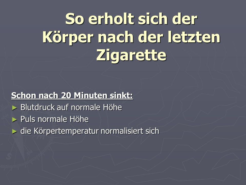 So erholt sich der Körper nach der letzten Zigarette Schon nach 20 Minuten sinkt: Blutdruck auf normale Höhe Blutdruck auf normale Höhe Puls normale H