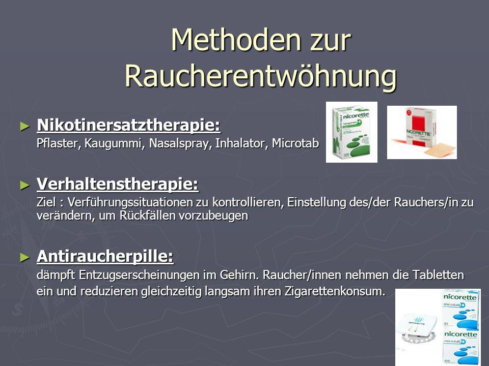 Methoden zur Raucherentwöhnung Nikotinersatztherapie: Nikotinersatztherapie: Pflaster, Kaugummi, Nasalspray, Inhalator, Microtab Verhaltenstherapie: V