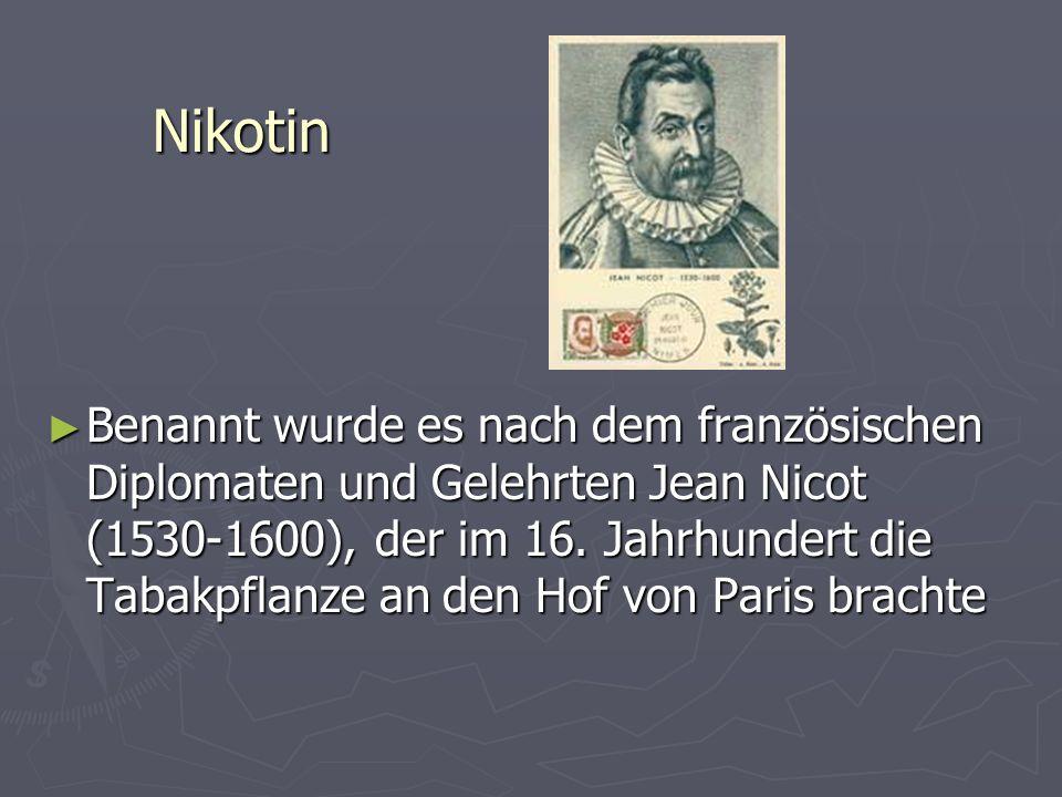 Nikotin Benannt wurde es nach dem französischen Diplomaten und Gelehrten Jean Nicot (1530-1600), der im 16. Jahrhundert die Tabakpflanze an den Hof vo