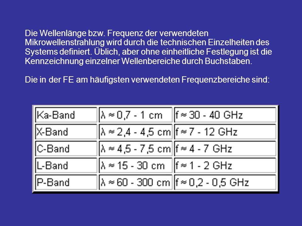 Die Wellenlänge bzw. Frequenz der verwendeten Mikrowellenstrahlung wird durch die technischen Einzelheiten des Systems definiert. Üblich, aber ohne ei