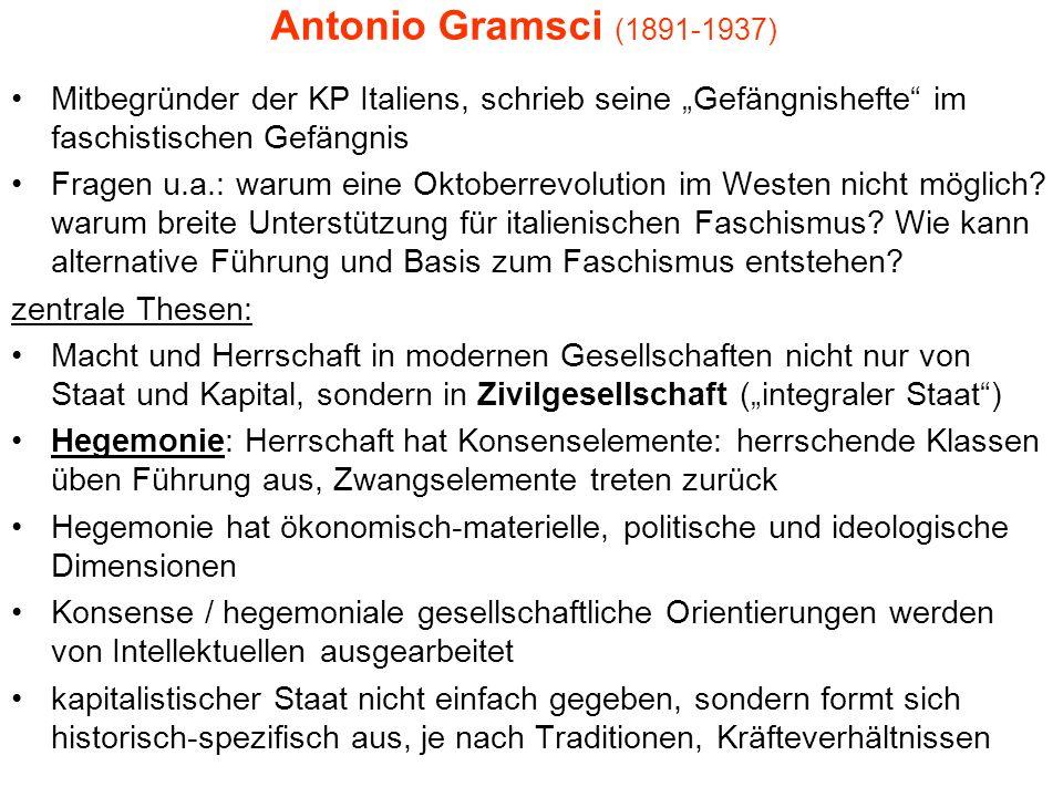 Antonio Gramsci (1891-1937) Mitbegründer der KP Italiens, schrieb seine Gefängnishefte im faschistischen Gefängnis Fragen u.a.: warum eine Oktoberrevo