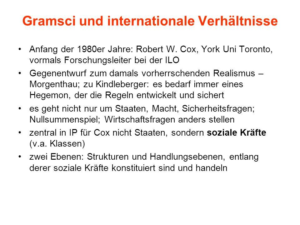 Gramsci und internationale Verhältnisse Anfang der 1980er Jahre: Robert W. Cox, York Uni Toronto, vormals Forschungsleiter bei der ILO Gegenentwurf zu
