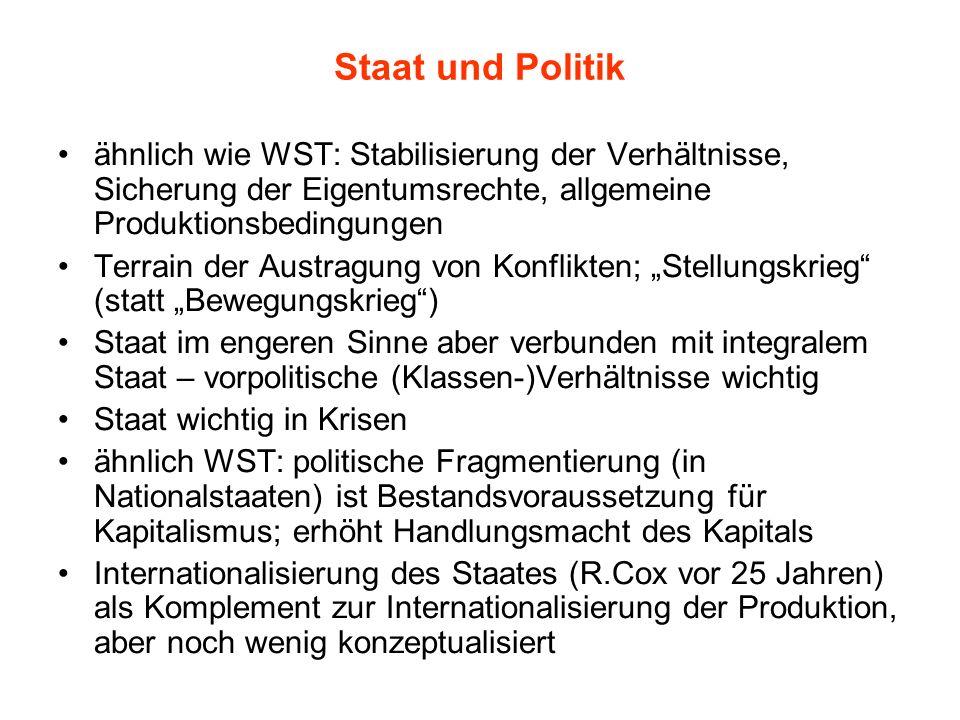 Staat und Politik ähnlich wie WST: Stabilisierung der Verhältnisse, Sicherung der Eigentumsrechte, allgemeine Produktionsbedingungen Terrain der Austr