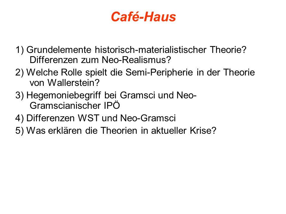 Café-Haus 1) Grundelemente historisch-materialistischer Theorie? Differenzen zum Neo-Realismus? 2) Welche Rolle spielt die Semi-Peripherie in der Theo