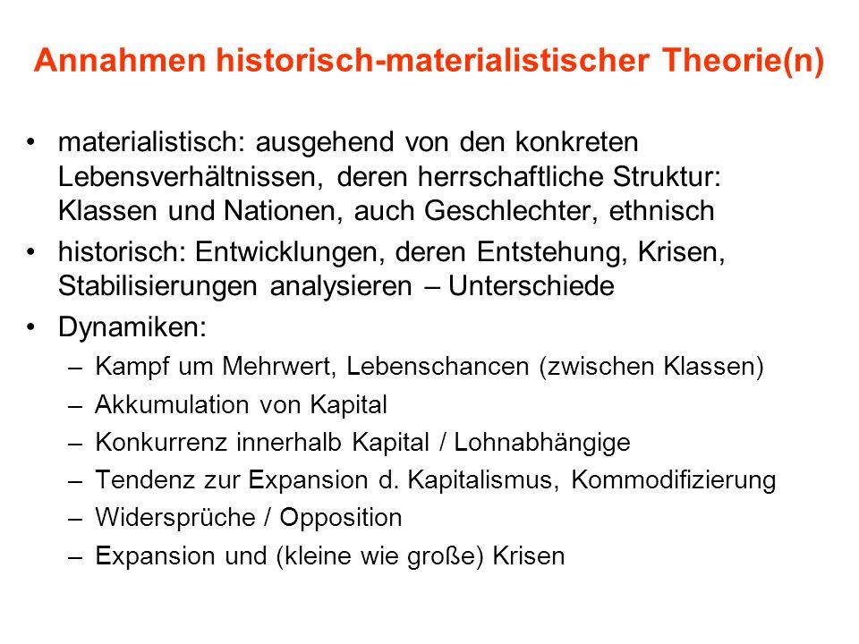 Annahmen historisch-materialistischer Theorie(n) materialistisch: ausgehend von den konkreten Lebensverhältnissen, deren herrschaftliche Struktur: Kla
