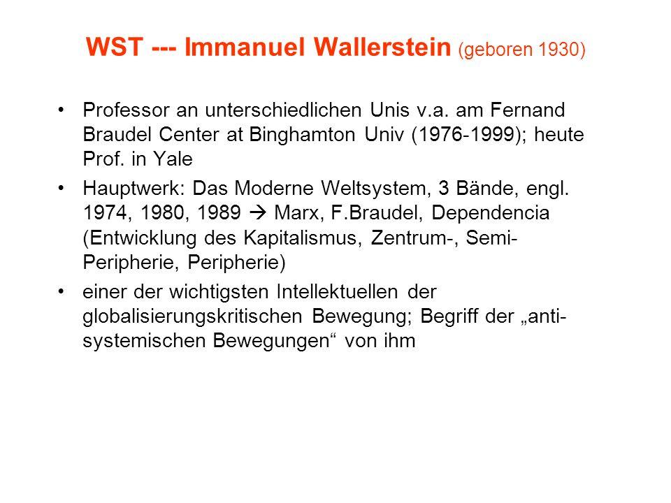 WST --- Immanuel Wallerstein (geboren 1930) Professor an unterschiedlichen Unis v.a. am Fernand Braudel Center at Binghamton Univ (1976-1999); heute P