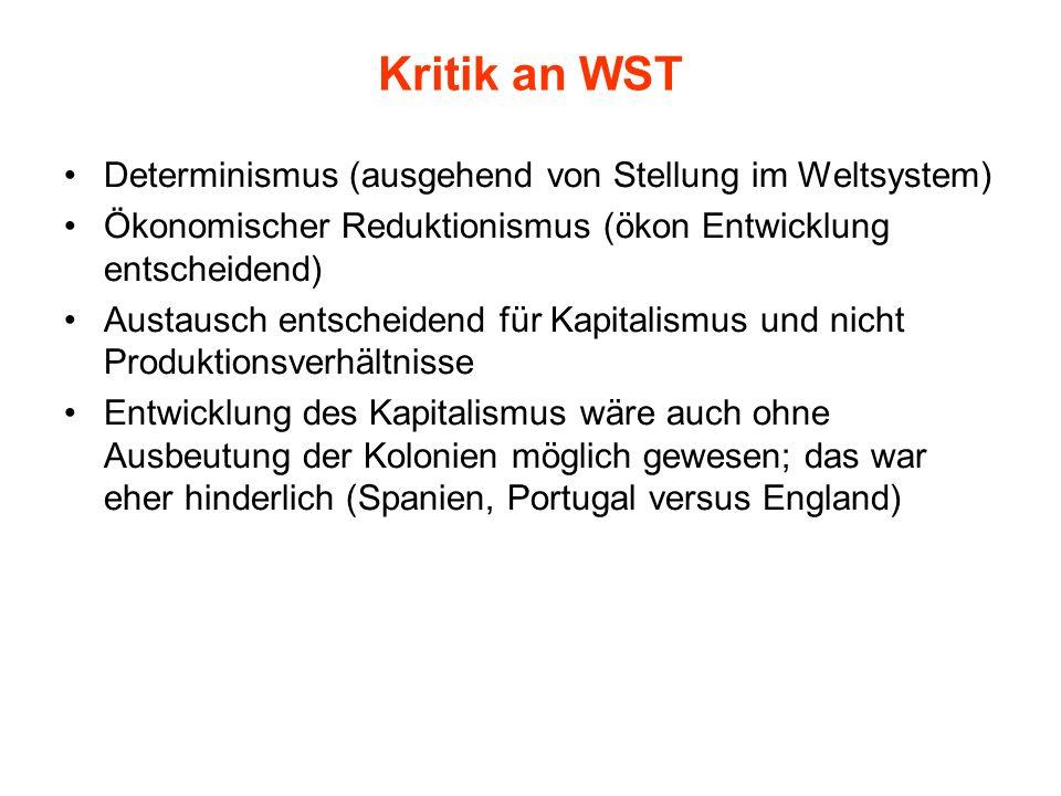 Kritik an WST Determinismus (ausgehend von Stellung im Weltsystem) Ökonomischer Reduktionismus (ökon Entwicklung entscheidend) Austausch entscheidend