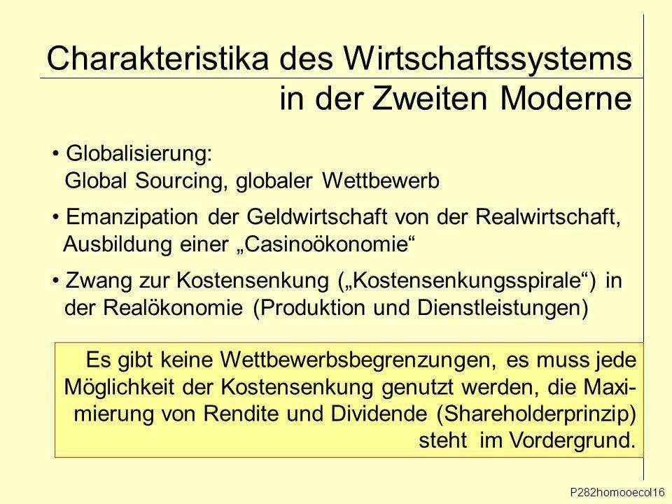Charakteristika des Wirtschaftssystems in der Zweiten Moderne P282homooecol16 Emanzipation der Geldwirtschaft von der Realwirtschaft, Ausbildung einer