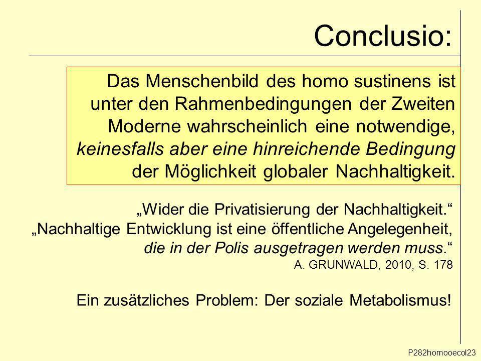 Conclusio: P282homooecol23 Das Menschenbild des homo sustinens ist unter den Rahmenbedingungen der Zweiten Moderne wahrscheinlich eine notwendige, kei