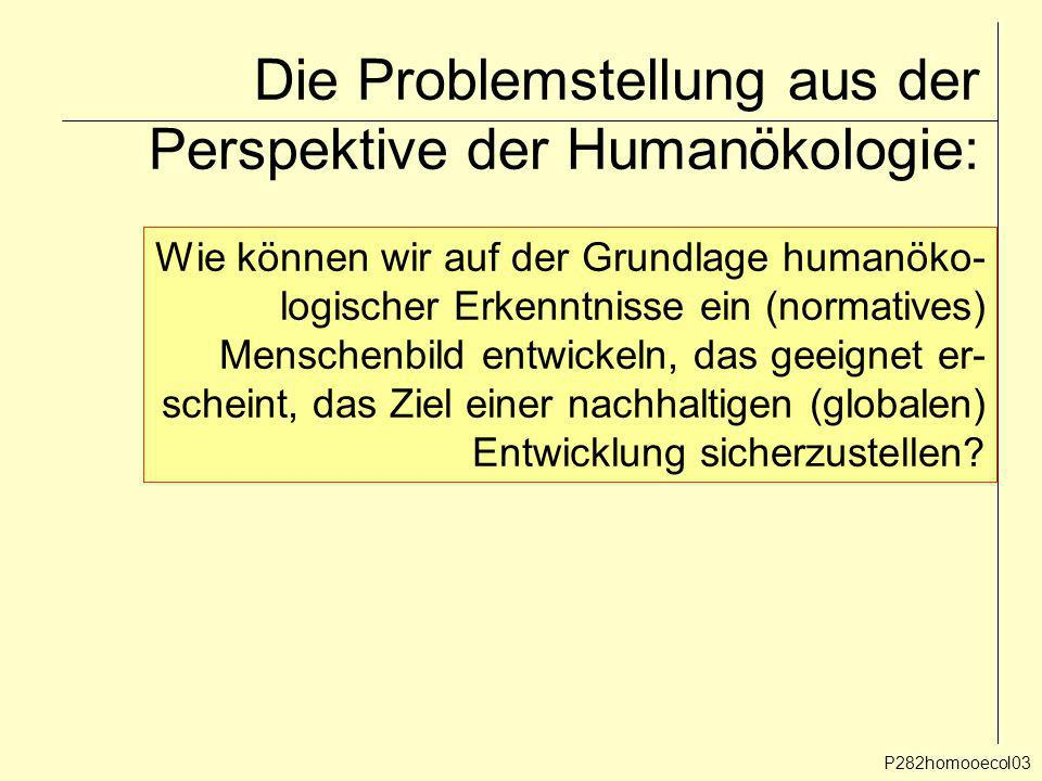 Die Problemstellung aus der Perspektive der Humanökologie: P282homooecol03 Wie können wir auf der Grundlage humanöko- logischer Erkenntnisse ein (norm