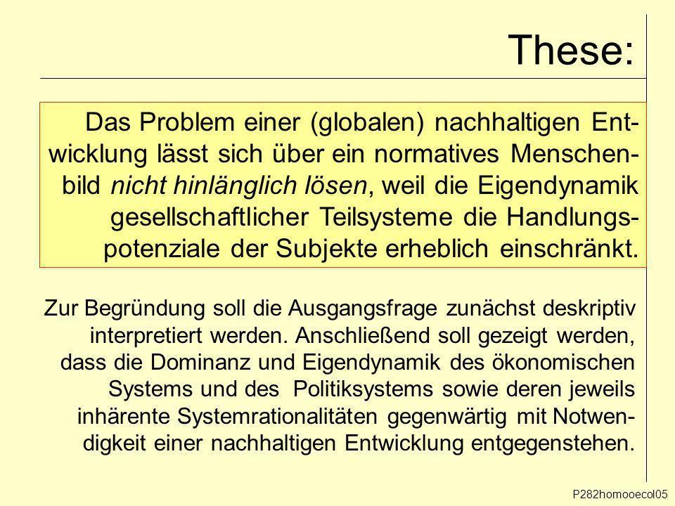 These: P282homooecol05 Das Problem einer (globalen) nachhaltigen Ent- wicklung lässt sich über ein normatives Menschen- bild nicht hinlänglich lösen,