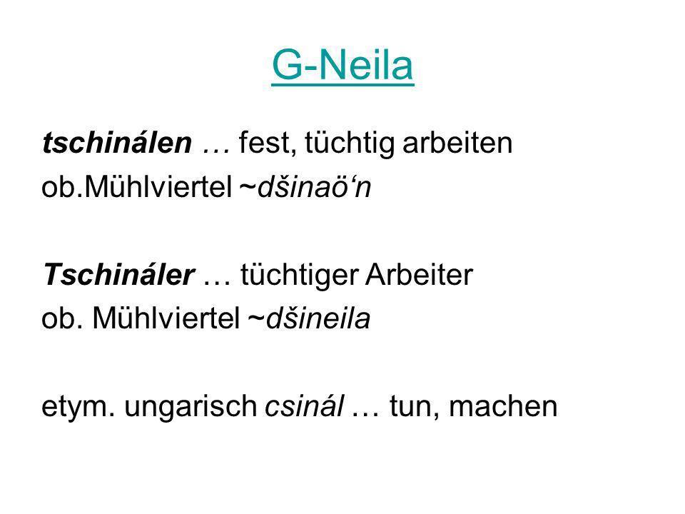 G-Neila tschinálen … fest, tüchtig arbeiten ob.Mühlviertel ~dšinaön Tschináler … tüchtiger Arbeiter ob. Mühlviertel ~dšineila etym. ungarisch csinál …