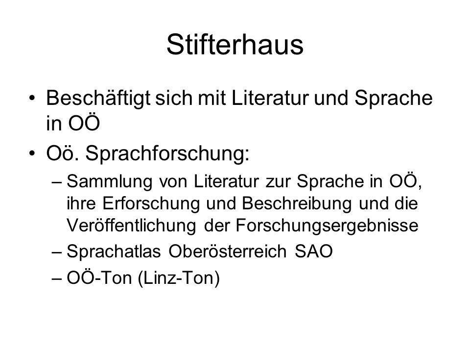 Stifterhaus Beschäftigt sich mit Literatur und Sprache in OÖ Oö. Sprachforschung: –Sammlung von Literatur zur Sprache in OÖ, ihre Erforschung und Besc