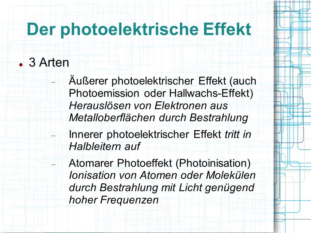 Der photoelektrische Effekt 3 Arten Äußerer photoelektrischer Effekt (auch Photoemission oder Hallwachs-Effekt) Herauslösen von Elektronen aus Metallo