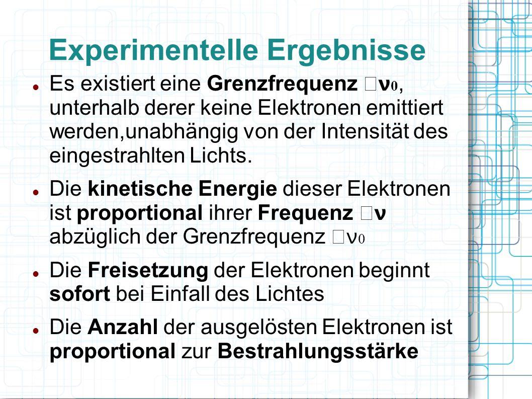 Experimentelle Ergebnisse Es existiert eine Grenzfrequenz ν 0, unterhalb derer keine Elektronen emittiert werden,unabhängig von der Intensität des ein