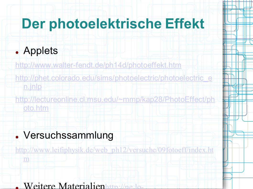 Der photoelektrische Effekt Applets http://www.walter-fendt.de/ph14d/photoeffekt.htm http://phet.colorado.edu/sims/photoelectric/photoelectric_e n.jnl