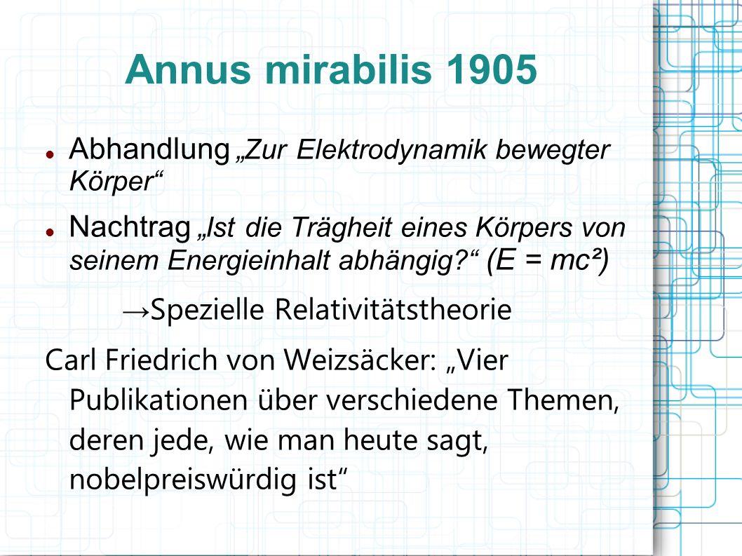 Annus mirabilis 1905 Abhandlung Zur Elektrodynamik bewegter Körper Nachtrag Ist die Trägheit eines Körpers von seinem Energieinhalt abhängig? (E = mc²