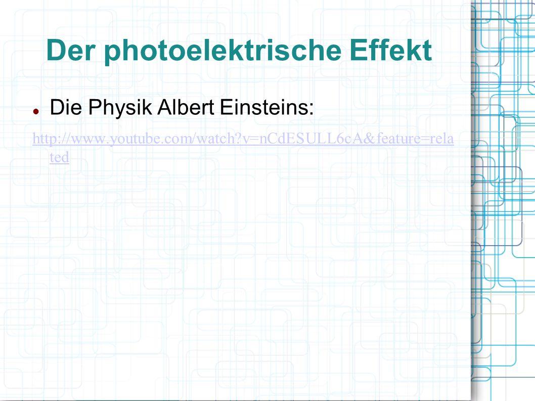 Der photoelektrische Effekt 3 Arten Äußerer photoelektrischer Effekt (auch Photoemission oder Hallwachs-Effekt) Herauslösen von Elektronen aus Metalloberflächen durch Bestrahlung Innerer photoelektrischer Effekt tritt in Halbleitern auf Atomarer Photoeffekt (Photoinisation) Ionisation von Atomen oder Molekülen durch Bestrahlung mit Licht genügend hoher Frequenzen