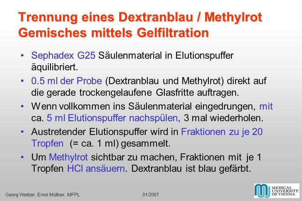Trennung eines Dextranblau / Methylrot Gemisches mittels Gelfiltration Sephadex G25 Säulenmaterial in Elutionspuffer äquilibriert. 0.5 ml der Probe (D