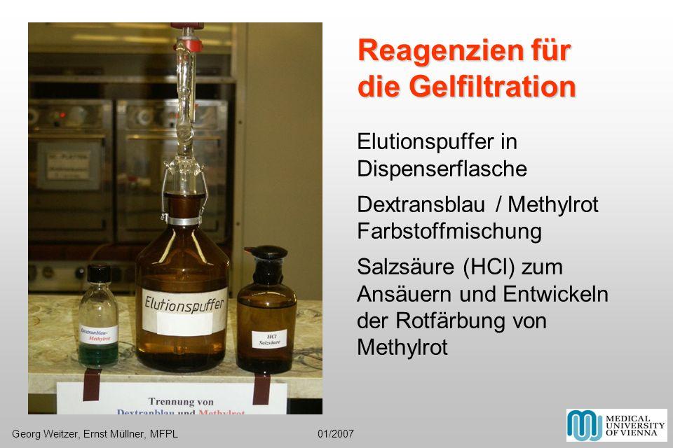Elutionspuffer in Dispenserflasche Dextransblau / Methylrot Farbstoffmischung Salzsäure (HCl) zum Ansäuern und Entwickeln der Rotfärbung von Methylrot