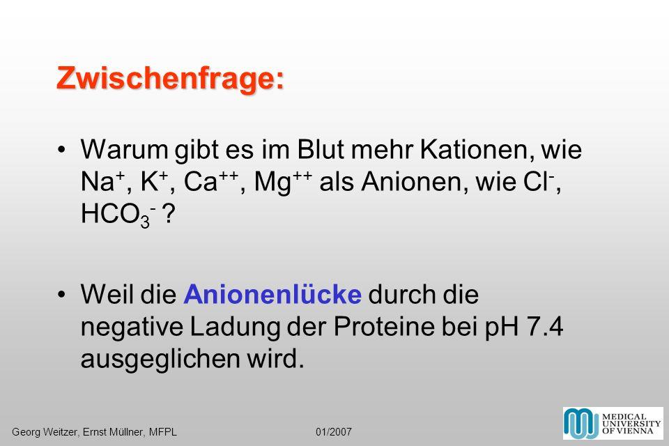 Zwischenfrage: Warum gibt es im Blut mehr Kationen, wie Na +, K +, Ca ++, Mg ++ als Anionen, wie Cl -, HCO 3 - ? Weil die Anionenlücke durch die negat