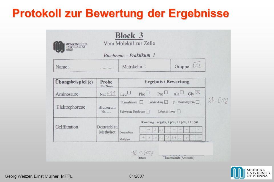 Protokoll zur Bewertung der Ergebnisse Georg Weitzer, Ernst Müllner, MFPL 01/2007