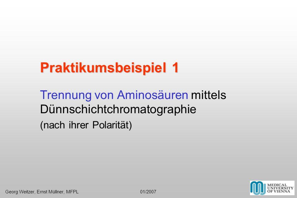 Glasröhrchen Zellulose auf Alufolie, polare, stationäre Phase Standard = Referenzwert Auftragen der Proben Georg Weitzer, Ernst Müllner, MFPL 01/2007