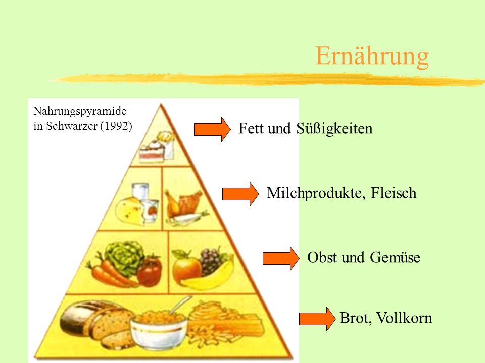 Ernährung Brot, Vollkorn Obst und Gemüse Milchprodukte, Fleisch Fett und Süßigkeiten Nahrungspyramide in Schwarzer (1992)