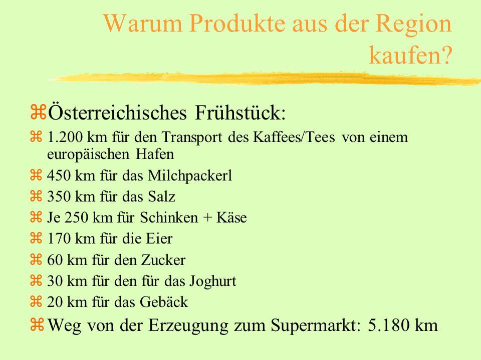 Warum Produkte aus der Region kaufen? zÖsterreichisches Frühstück: z1.200 km für den Transport des Kaffees/Tees von einem europäischen Hafen z450 km f