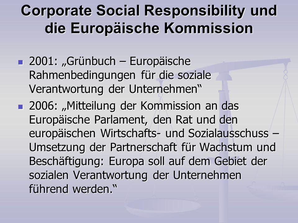 Corporate Social Responsibility und die Europäische Kommission 2001: Grünbuch – Europäische Rahmenbedingungen für die soziale Verantwortung der Untern