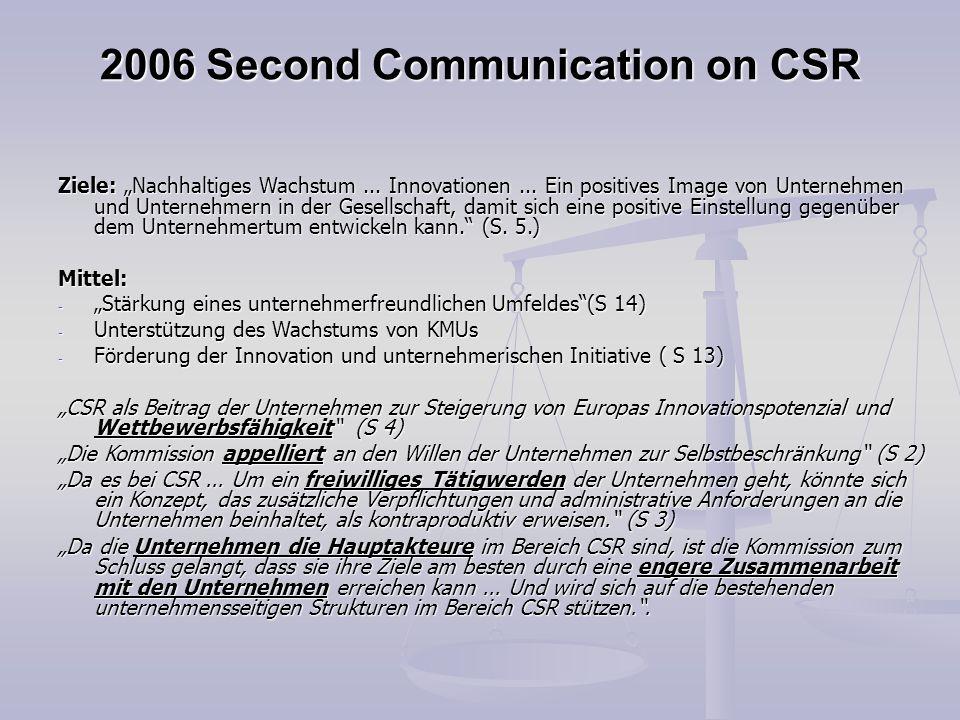 2006 Second Communication on CSR Ziele: Nachhaltiges Wachstum... Innovationen... Ein positives Image von Unternehmen und Unternehmern in der Gesellsch