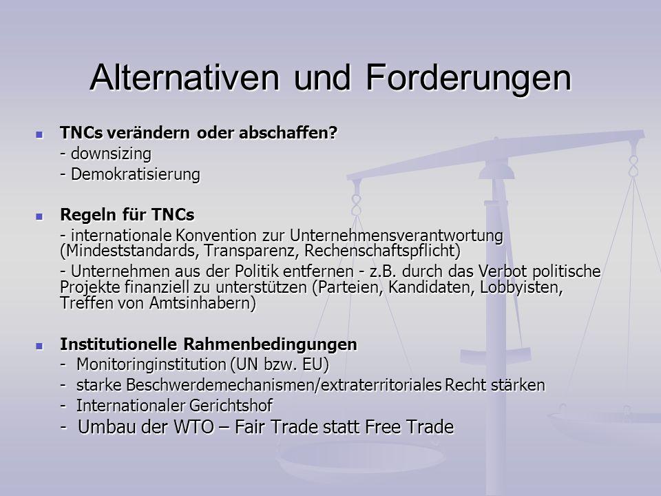 Alternativen und Forderungen TNCs verändern oder abschaffen? TNCs verändern oder abschaffen? - downsizing - Demokratisierung Regeln für TNCs Regeln fü