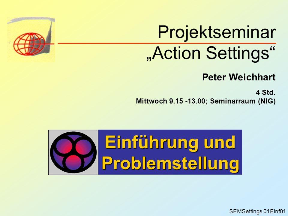 Projektseminar Action Settings Peter Weichhart 4 Std. Mittwoch 9.15 -13.00; Seminarraum (NIG) Einführung und Problemstellung SEMSettings 01Einf01