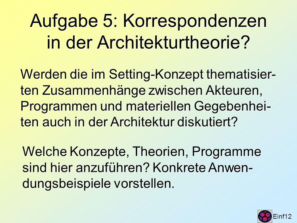 Aufgabe 5: Korrespondenzen in der Architekturtheorie? Einf12 Werden die im Setting-Konzept thematisier- ten Zusammenhänge zwischen Akteuren, Programme