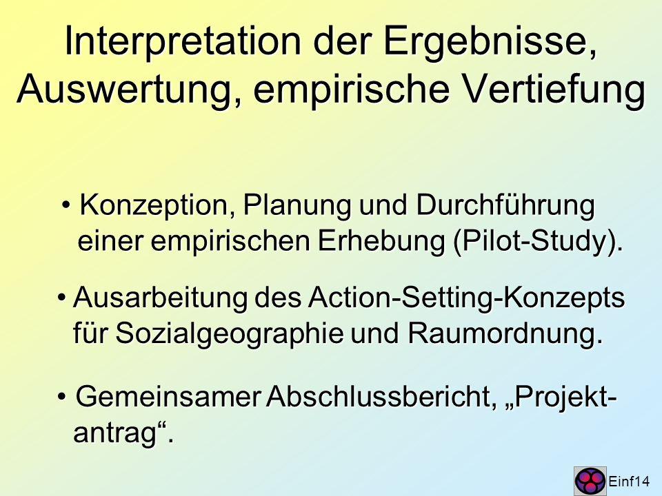 Interpretation der Ergebnisse, Auswertung, empirische Vertiefung Einf14 Konzeption, Planung und Durchführung Konzeption, Planung und Durchführung eine