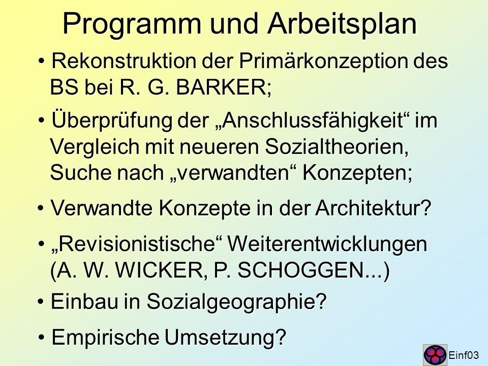 Programm und Arbeitsplan Einf03 Rekonstruktion der Primärkonzeption des Rekonstruktion der Primärkonzeption des BS bei R. G. BARKER; BS bei R. G. BARK