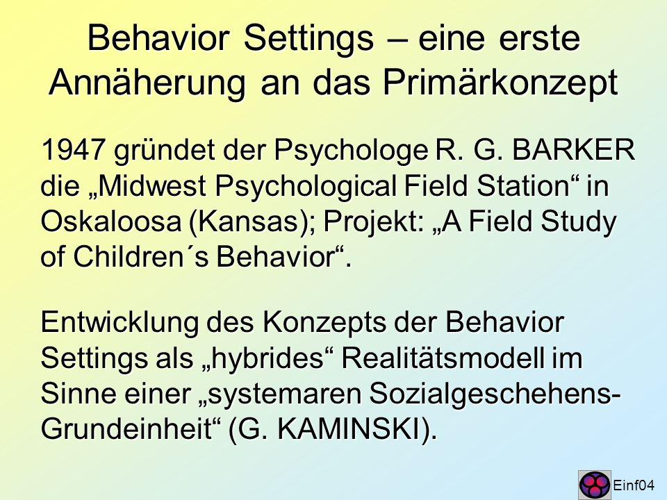 Behavior Settings – eine erste Annäherung an das Primärkonzept Einf04 1947 gründet der Psychologe R. G. BARKER die Midwest Psychological Field Station