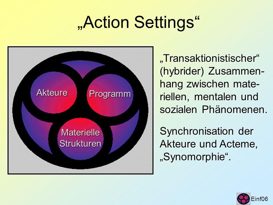 Action Settings Einf06 Akteure Programm MaterielleStrukturen Transaktionistischer (hybrider) Zusammen- hang zwischen mate- riellen, mentalen und sozia