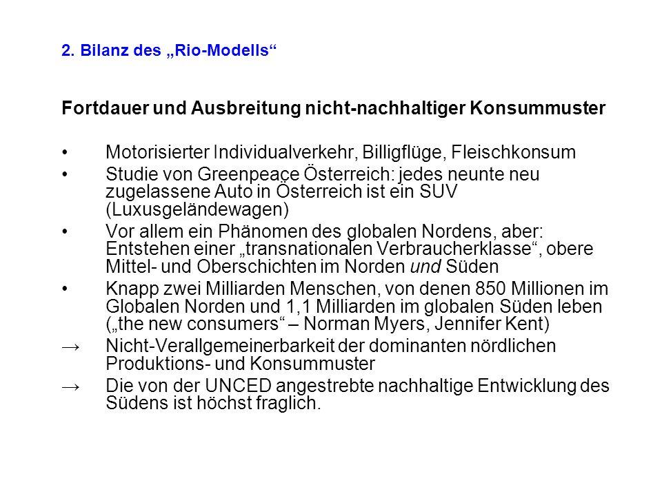 Fortdauer und Ausbreitung nicht-nachhaltiger Konsummuster Motorisierter Individualverkehr, Billigflüge, Fleischkonsum Studie von Greenpeace Österreich