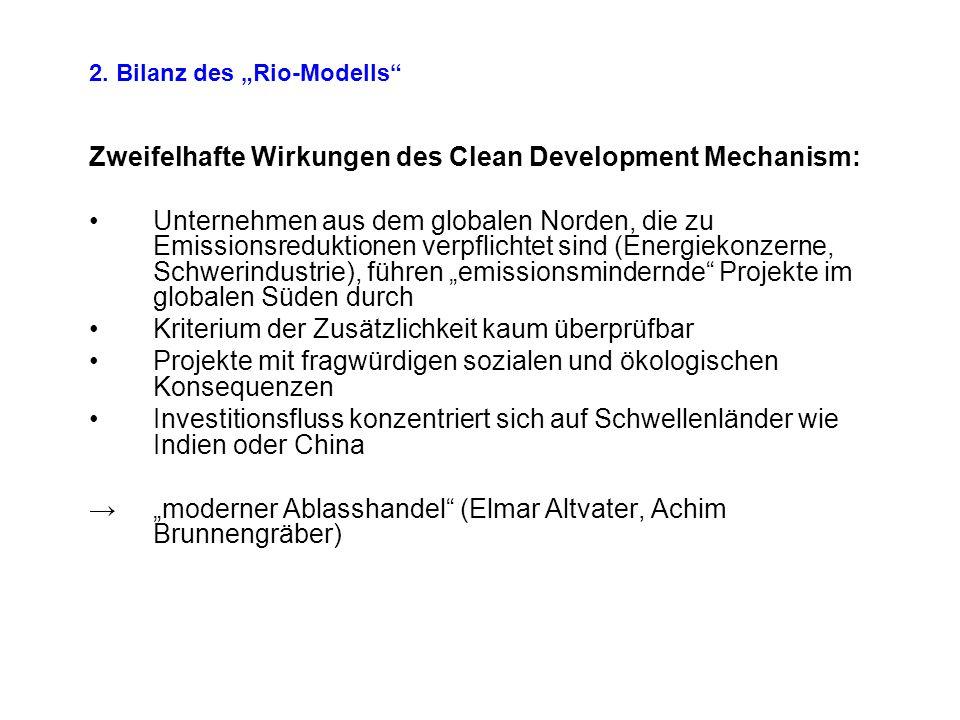 2. Bilanz des Rio-Modells Zweifelhafte Wirkungen des Clean Development Mechanism: Unternehmen aus dem globalen Norden, die zu Emissionsreduktionen ver