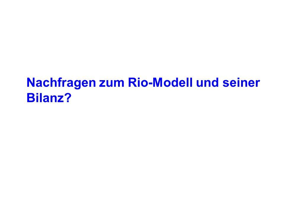 Nachfragen zum Rio-Modell und seiner Bilanz?