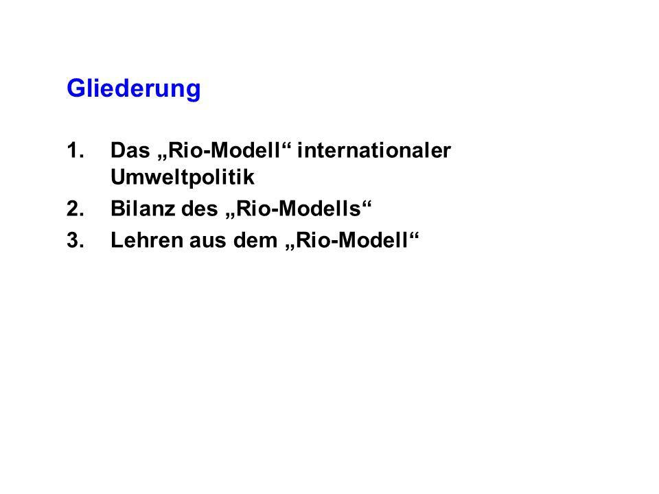Gliederung 1.Das Rio-Modell internationaler Umweltpolitik 2.Bilanz des Rio-Modells 3.Lehren aus dem Rio-Modell