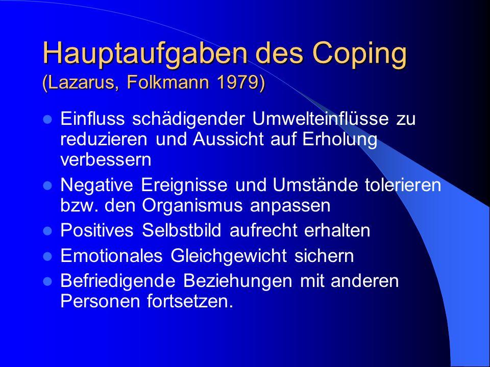 Hauptaufgaben des Coping (Lazarus, Folkmann 1979) Einfluss schädigender Umwelteinflüsse zu reduzieren und Aussicht auf Erholung verbessern Negative Er