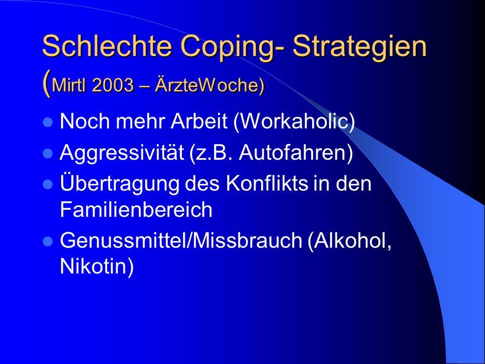 Schlechte Coping- Strategien ( Mirtl 2003 – ÄrzteWoche) Noch mehr Arbeit (Workaholic) Aggressivität (z.B. Autofahren) Übertragung des Konflikts in den